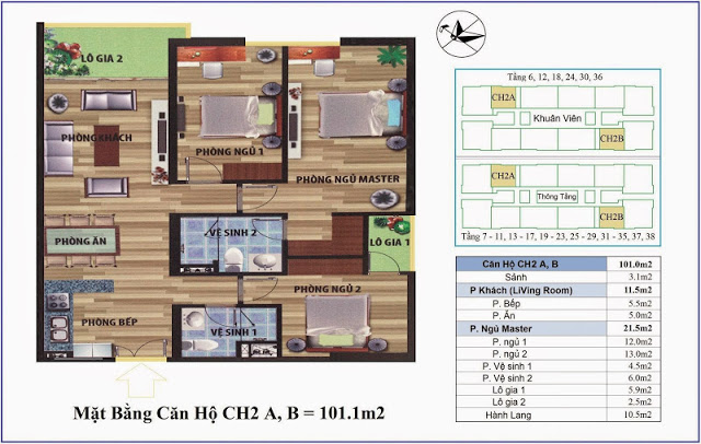 Thiết kế căn hộ 101m2 Chung cư CT4 Vimeco