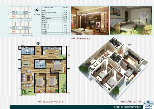 Thiết kế căn hộ 120m2 Chung cư CT4 Vimeco