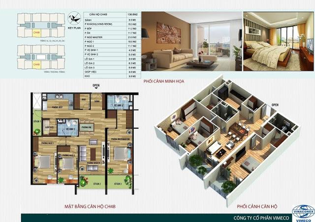 Thiết kế căn hộ 138m2 Chung cư CT4 Vimeco