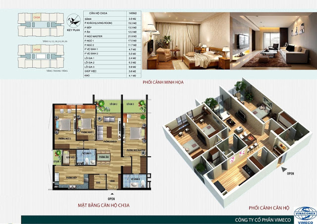 Thiết kế căn hộ 140m2 Chung cư CT4 Vimeco