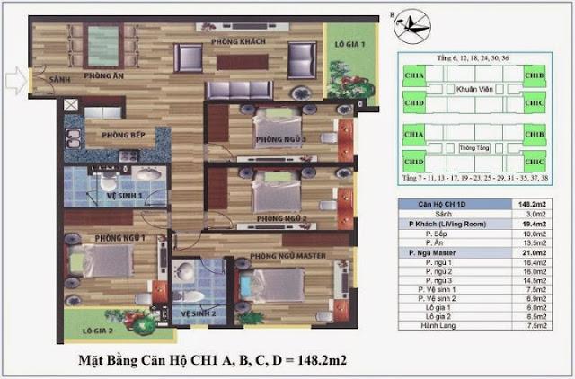 Thiết kế căn hộ 148m2 Chung cư CT4 Vimeco