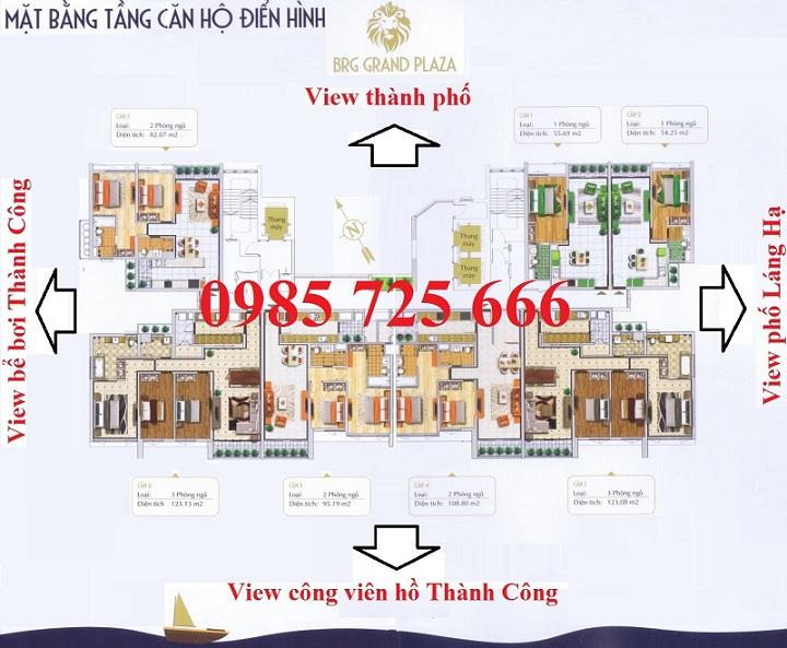 Mặt bằng thiết kế mới chung cư 16 Láng Hạ - BRG Grand Plaza