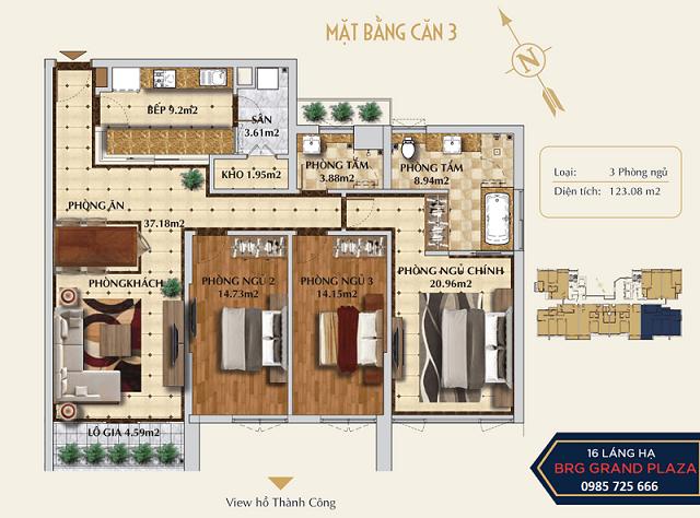 Thiết kế căn 03 dự án chung cư BRG Grand Plaza 16 Láng Hạ