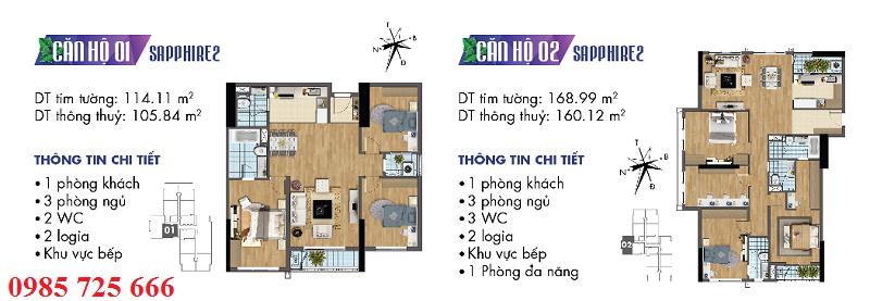 Thiết kế chi tiết căn hộ 1-2 Sapphire 2 Goldmark City - 136 Hồ Tùng Mậu