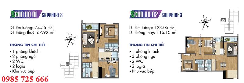 Thiết kế chi tiết căn hộ 1-2 Sapphire 3 Goldmark City - 136 Hồ Tùng Mậu