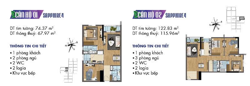 Thiết kế chi tiết căn hộ 1-2 Sapphire 4 Goldmark City - 136 Hồ Tùng Mậu