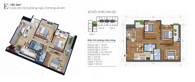Thiết kế căn hộ 101,2m2 chung cư Ecolife Tây Hồ