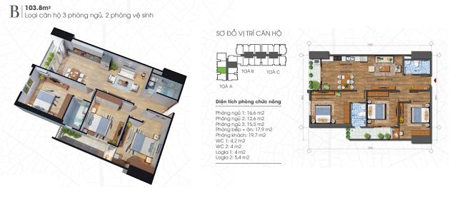 Thiết kế căn hộ 103,8m2 chung cư Ecolife Tây Hồ