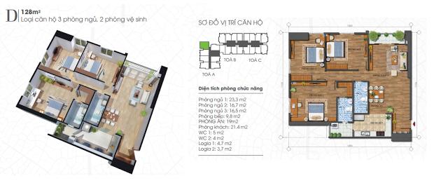 Thiết kế căn hộ 128m2 chung cư Ecolife Tây Hồ