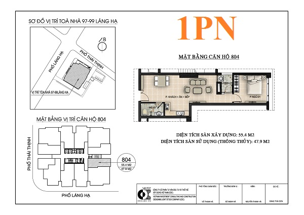 Thiết kế căn hộ 1PN chung cư 97-99 Láng Hạ Petrowaco