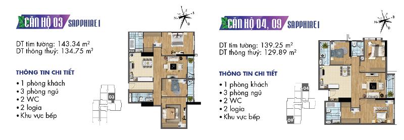 Thiết kế chi tiết căn hộ 3-4-9 Sapphire 1 Goldmark City - 136 Hồ Tùng Mậu