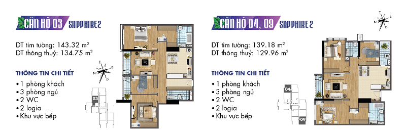 Thiết kế chi tiết căn hộ 3-4-9 Sapphire 2 Goldmark City - 136 Hồ Tùng Mậu