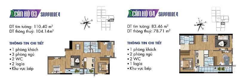 Thiết kế chi tiết căn hộ 3-4 Sapphire 4 Goldmark City - 136 Hồ Tùng Mậu