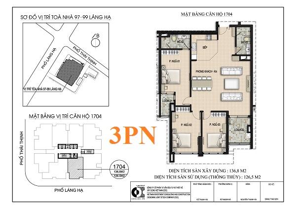Thiết kế căn hộ 3PN chung cư 97-99 Láng Hạ Petrowaco