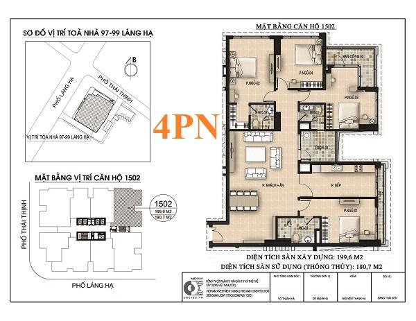 Thiết kế căn hộ 4PN chung cư 97-99 Láng Hạ Petrowaco