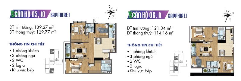 Thiết kế chi tiết căn hộ 5-6-10-11 Sapphire 1 Goldmark City - 136 Hồ Tùng Mậu