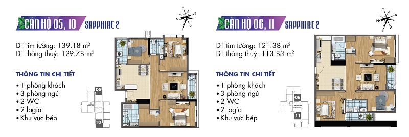 Thiết kế chi tiết căn hộ 5-6-10-11 Sapphire 2 Goldmark City - 136 Hồ Tùng Mậu