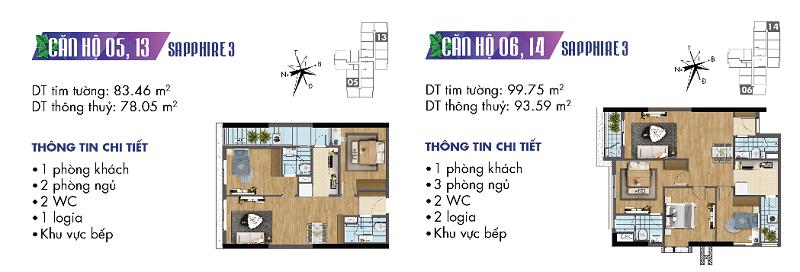 Thiết kế chi tiết căn hộ 5-6-13-14 Sapphire 3 Goldmark City - 136 Hồ Tùng Mậu