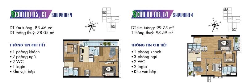 Thiết kế chi tiết căn hộ 5-6-13-14 Sapphire 4 Goldmark City - 136 Hồ Tùng Mậu