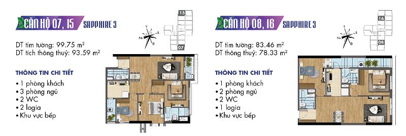 Thiết kế chi tiết căn hộ 7-8-15-16 Sapphire 3 Goldmark City - 136 Hồ Tùng Mậu