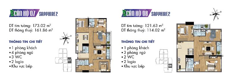 Thiết kế chi tiết căn hộ 7-8 Sapphire 2 Goldmark City - 136 Hồ Tùng Mậu