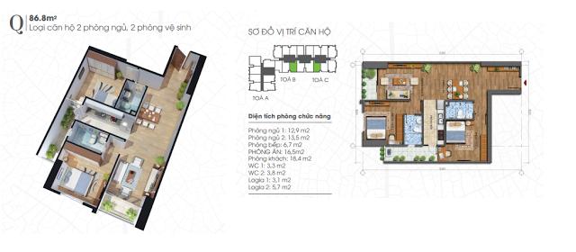 Thiết kế căn hộ 86,8m2 chung cư Ecolife Tây Hồ