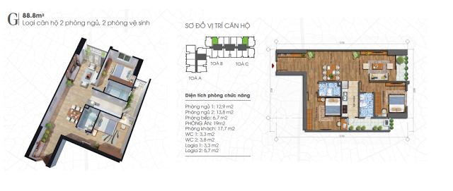 Thiết kế căn hộ 88,8m2 chung cư Ecolife Tây Hồ