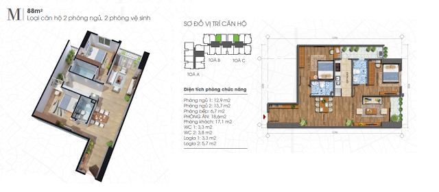 Thiết kế căn hộ 88m2 chung cư Ecolife Tây Hồ