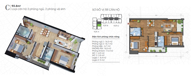 Thiết kế căn hộ 92,8m2 chung cư Ecolife Tây Hồ