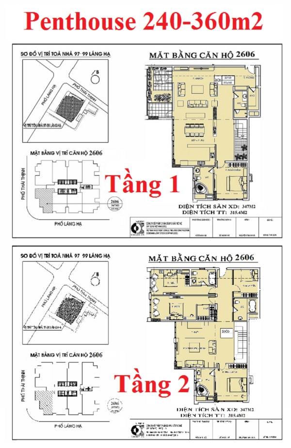 Thiết kế căn hộ Penthouse dự án chung cư 97-99 Láng Hạ Petrowaco