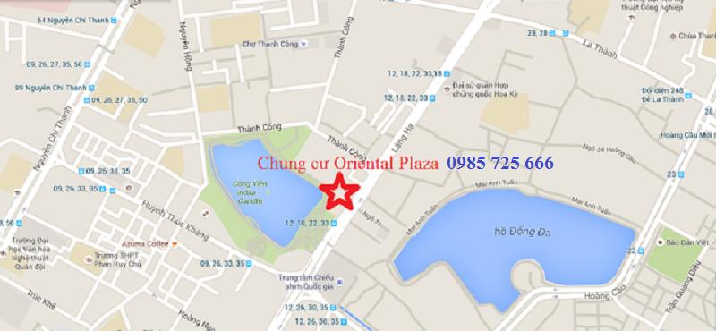 Vị trí dự án chung cư Oriental Plaza - 16 Láng Hạ - Ba Đình