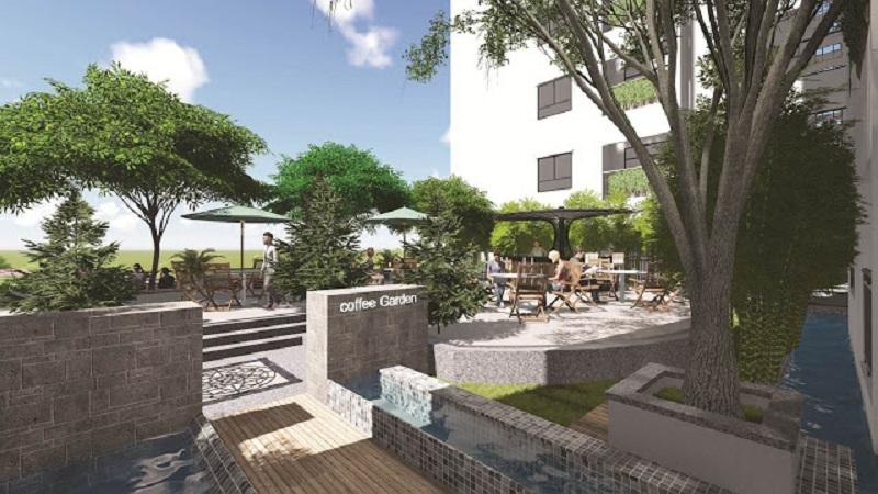 Vườn Cafe trên cao chung cư Ecolife Tây Hồ