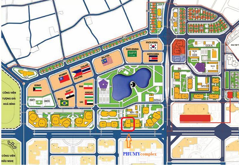 Vị trí dự án Phú Mỹ Complex - N01-T4 Ngoại Giao Đoàn