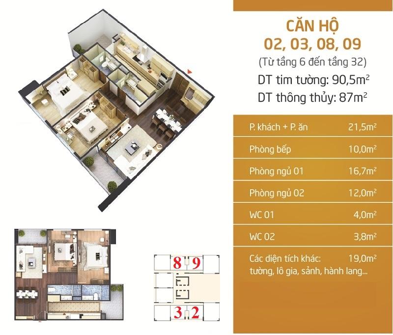 Thiết kế căn 2-3-8-9 dự án Phú Mỹ Complex - N01-T4 Ngoại Giao Đoàn