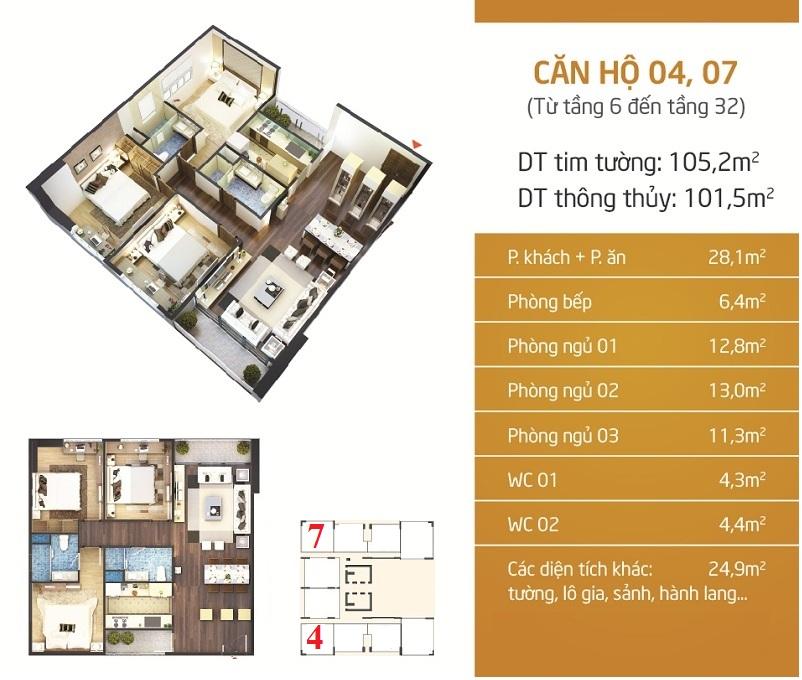 Thiết kế căn 4-7 dự án Phú Mỹ Complex - N01-T4 Ngoại Giao Đoàn