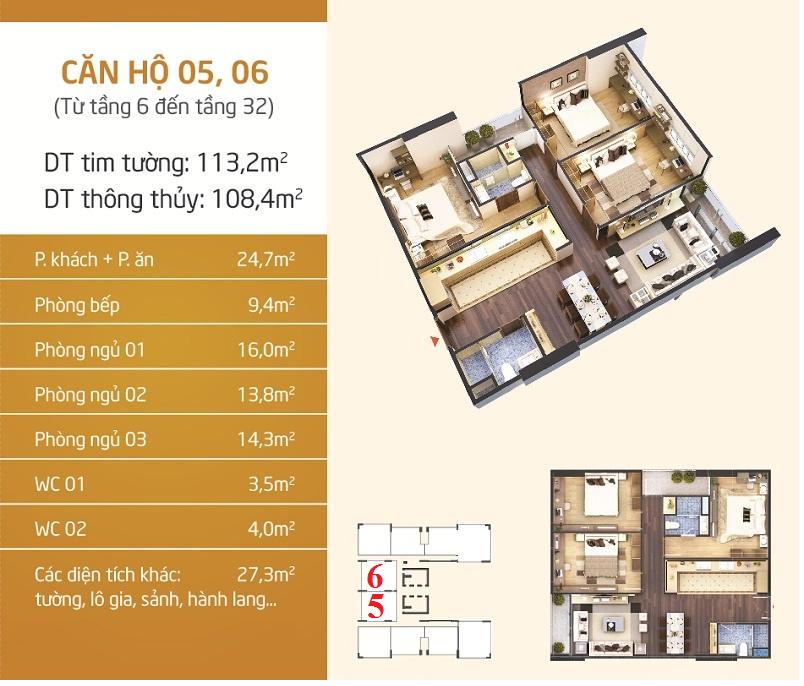 Thiết kế căn 5-6 dự án Phú Mỹ Complex - N01-T4 Ngoại Giao Đoàn