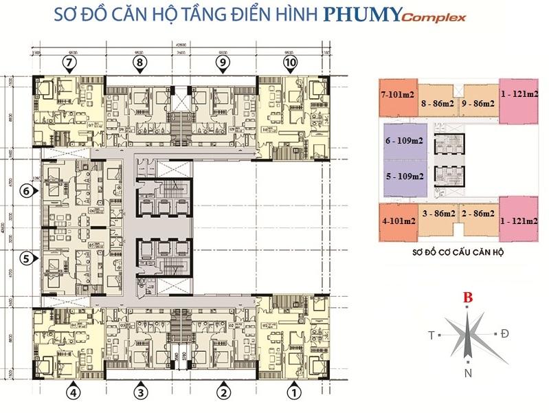 Mặt bằng căn hộ Phú Mỹ Complex - N01-T4