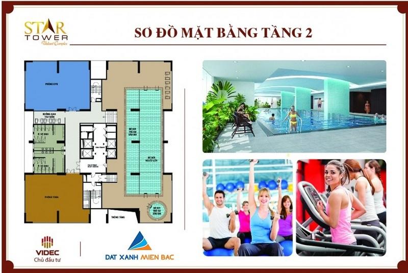 Mặt bằng tầng 2 dự án Star Tower 283 Khương Trung