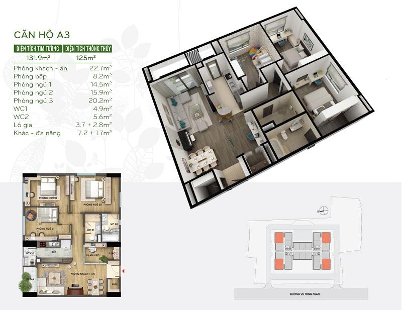 Thiết kế căn hộ 126m2 dự án Riverside Garden 349 Vũ Tông Phan