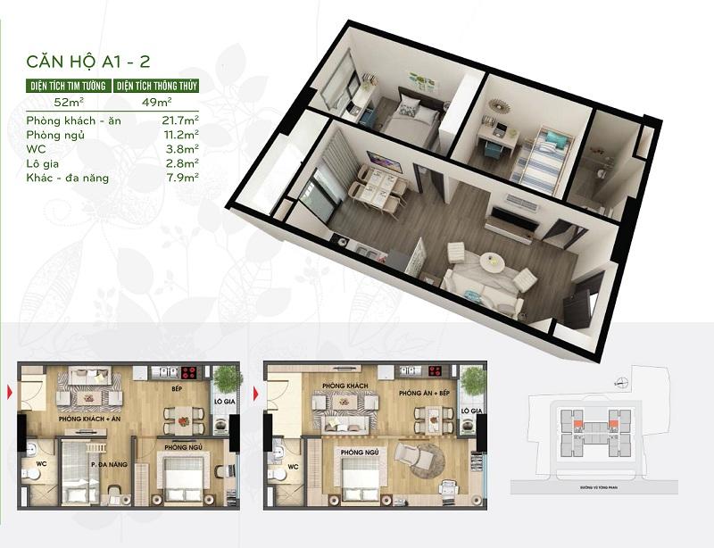 Thiết kế căn hộ 49m2 dự án Riverside Garden 349 Vũ Tông Phan
