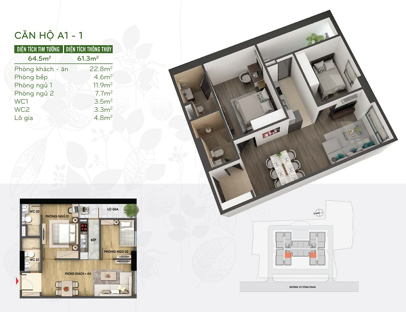 Thiết kế căn hộ 61m2 dự án Riverside Garden 349 Vũ Tông Phan
