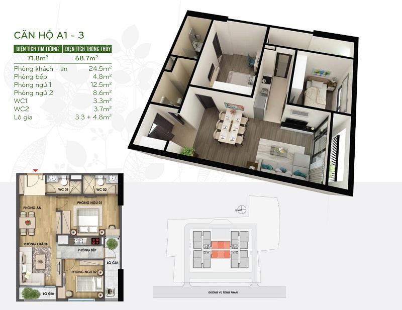Thiết kế căn hộ 69m2 dự án Riverside Garden 349 Vũ Tông Phan