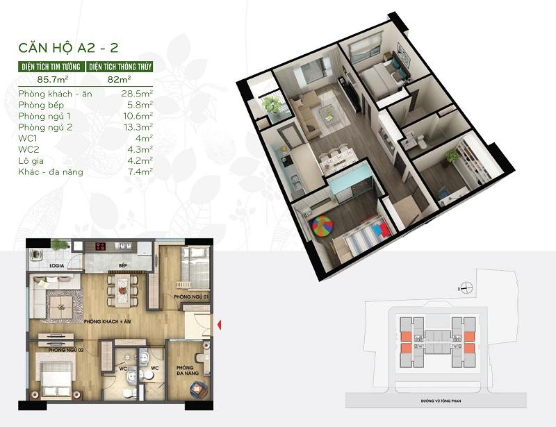 Thiết kế căn hộ 82m2 dự án Riverside Garden 349 Vũ Tông Phan