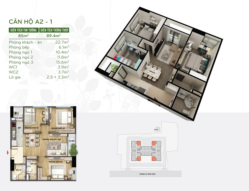 Thiết kế căn hộ 85m2 dự án Riverside Garden 349 Vũ Tông Phan