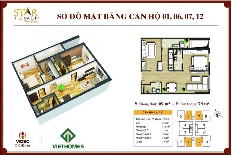 Thiết kế chi tiết căn hộ 2PN (73m2) Star Tower 283 Khương Trung