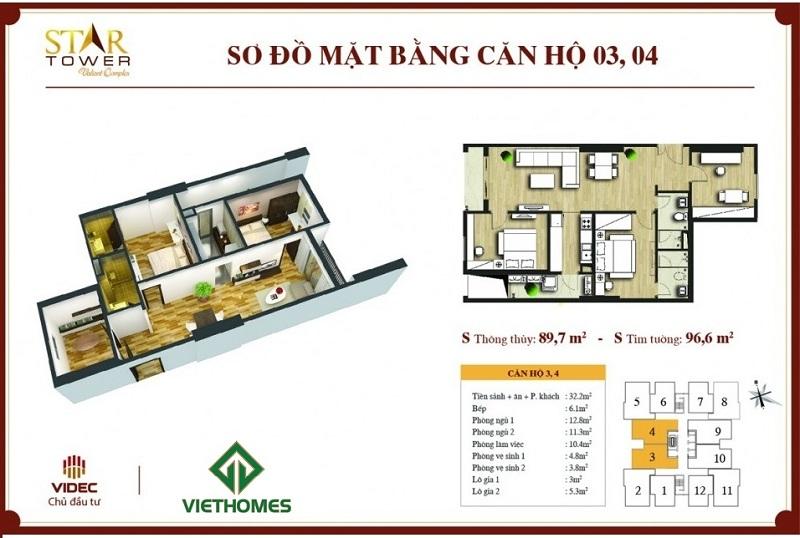 Thiết kế chi tiết căn hộ 2PN + 1 (96,6m2) Star Tower 283 Khương Trung