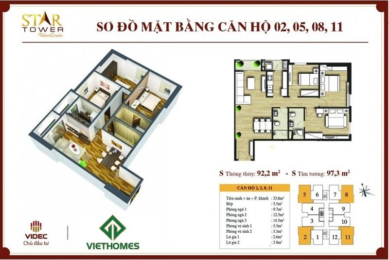 Thiết kế chi tiết căn hộ 3PN (97m2) Star Tower 283 Khương Trung