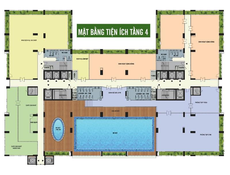 Quy hoạch tiện ích tầng 4 dự án Riverside Garden 349 Vũ Tông Phan