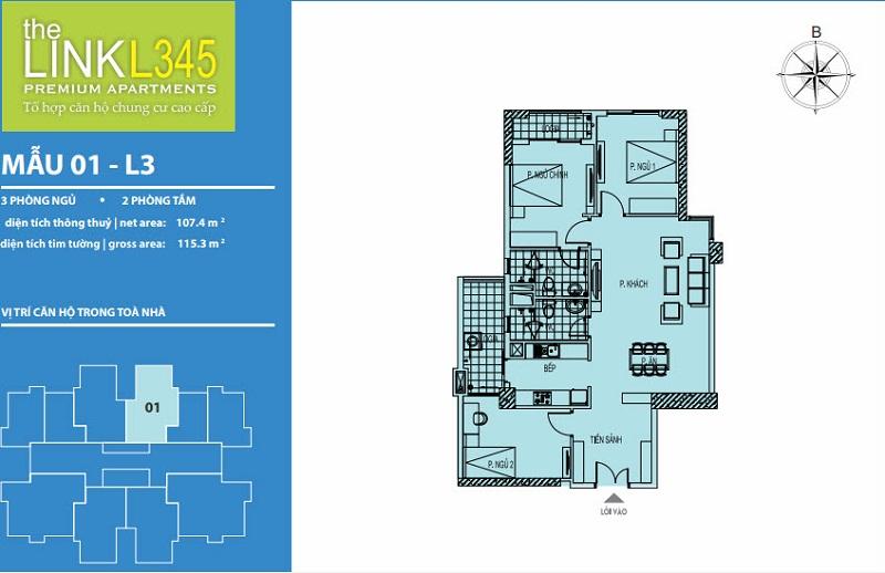 Thiết kế căn hộ 01 TheLink 345 Khu đô thị Ciputra - Nam Thăng Long