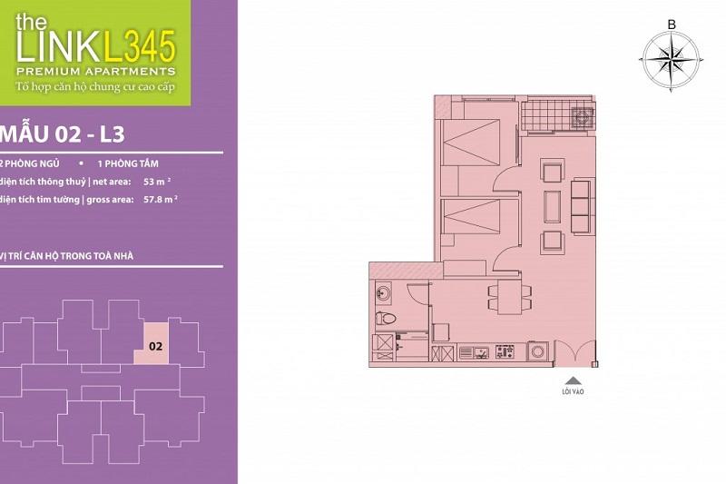 Thiết kế căn hộ 02 TheLink 345 Khu đô thị Ciputra - Nam Thăng Long